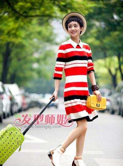 条纹长裙搭配的发型
