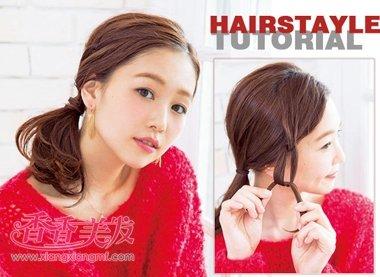女学生中短发马尾辫扎法 中短发学生好看的扎发教程(2