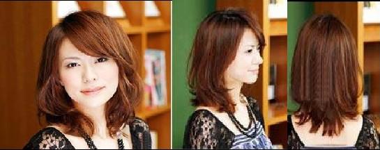 字脸型,整个脸型成四方型,额头和两腮较大,所以在设计发型应该采用图片
